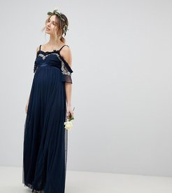 Cold Shoulder Sequin Detail Tulle Maxi Dress With Ruffle Detail-Navy