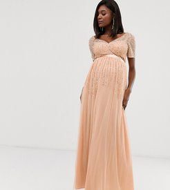 mesh all over scattered sequin pleated maxi dress in soft peach-Pink