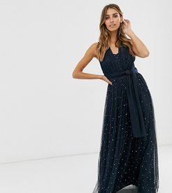 multiway strap maxi dress with embellished skirt in navy
