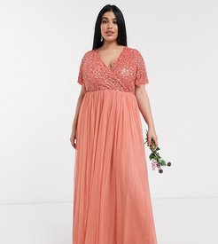 Bridesmaid wrap front delicate sequin maxi dress with tulle skirt in coral-Orange