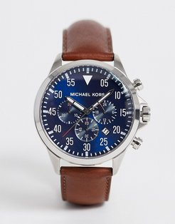 MK8362 Gage chronograph brown leather strap watch