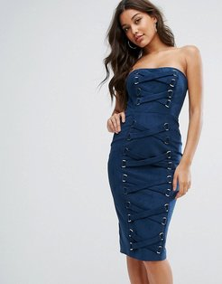Collection Bandeau Pencil Dress With Corset Lace Up Detail-Navy