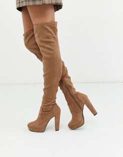 over the knee heeled boots in camel-Tan