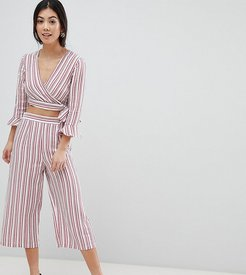Stripe Culotte Cropped Pants-Multi