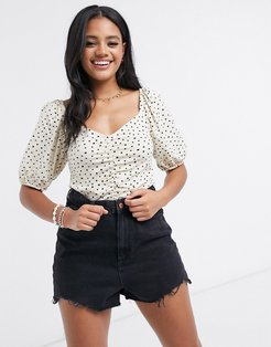 Nemi organic cotton jersey top with puff sleeves in dot print-Multi