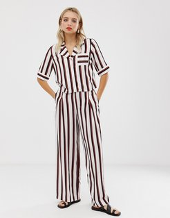 wide leg pants in black and pink stripe-White