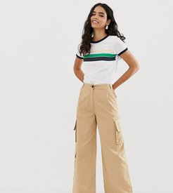 wide leg utility pants with oversized pockets in beige