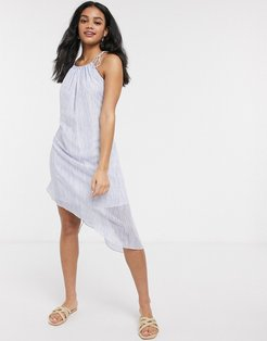 asymmetric tie waist mini dress-Blue
