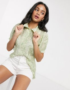 patterned organza shirt-Green
