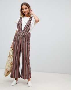 stripe jumpsuit-Multi