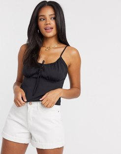 tie front cami in black