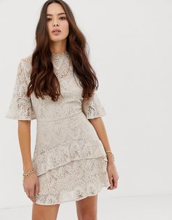 tiered lace mini dress-Cream