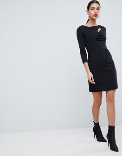 Bodycon Dress With Cutout Detail-Black