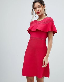 Bodycon Dress With Frill Overlay-Red