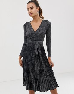 pleated wrap front midi dress in silver
