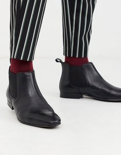 Moss London leather chelsea boots in black