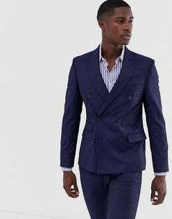 Moss London slim fit double breasted suit jacket with stretch in navy