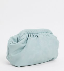 London Exclusive slouchy pillow clutch bag in sage green