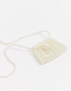 London mini airbuds neck pouch bag in pearl-Cream