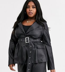 belted blazer in faux leather-Black