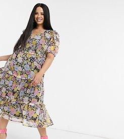 midi dress with tiered ruffle skirt and bow back in floral-Multi