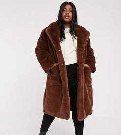 oversized faux fur coat with belt-Brown
