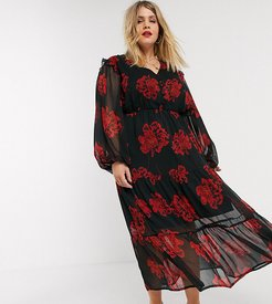 tiered maxi tea dress with balloon sleeves in bold floral-Black