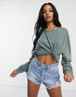 long sleeved oversized t-shirt with reflective graphics-Green
