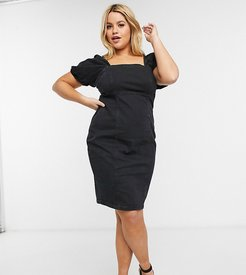 New Look Curve puff sleeve denim mini dress in black