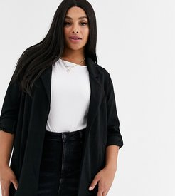 New Look Curve tie sleeve blazer in black