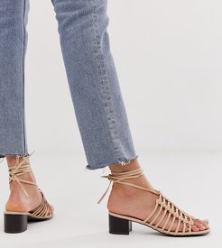 cut out sandal in beige-Pink