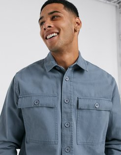double pocket overshirt in blue
