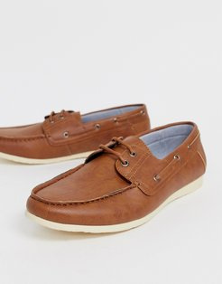 faux leather boat shoes in tan