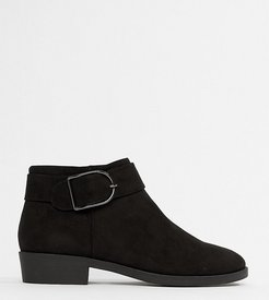 flat chelsea boot with buckle detail-Black