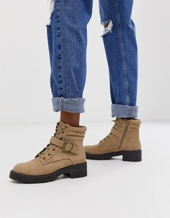 flat hiker boots in brown
