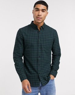 long sleeve check shirt in green