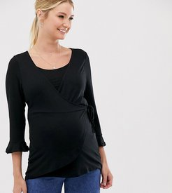 3/4 sleeve wrap nursing top in black