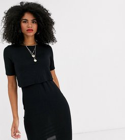 nursing double layer dress in black