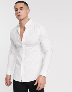 muscle oxford shirt in white