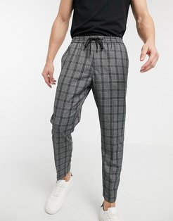 prince of wales check smart sweatpants in dark gray