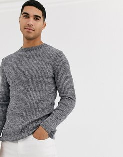 ribbed muscle fit sweater in gray marl