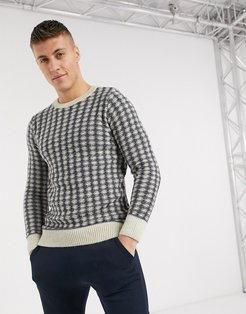 thrist sweater in navy and white