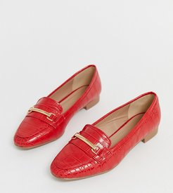croc effect loafer in bright red