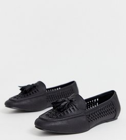 pu woven loafer in black