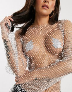 Nipztix By Neva Nude silver bolt nipple covers