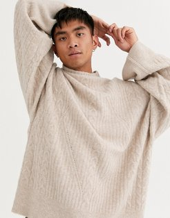 high neck cable knit sweater in camel-Beige