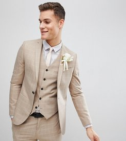 skinny wedding suit jacket in windowpane check-Beige