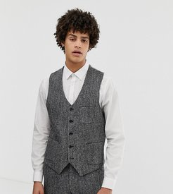 slim fit harris tweed suit vest in gray