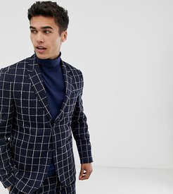 slim fit suit jacket in navy grid check