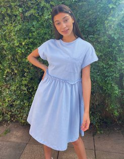 mini smock t-shirt dress with pocket detail in baby blue